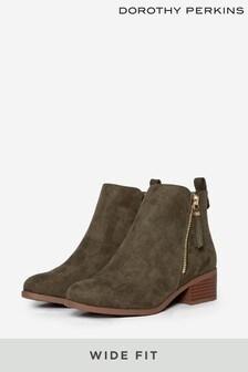 Dorothy Perkins Olive Wide Fit Macro Zip Ankle Boot