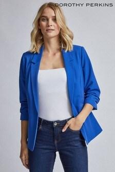 Dorothy Perkins Blue Ruched Sleeve Jacket