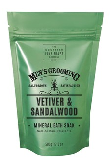 Scottish Fine Soaps Vetiver  Sandalwood Mineral Bath Soak 500g