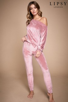 Lipsy Pink Ribbed Velour Slash Neck Sweat