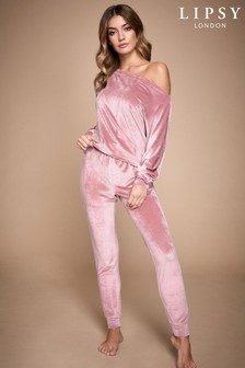 Lipsy Pink Ribbed Velour Bottom