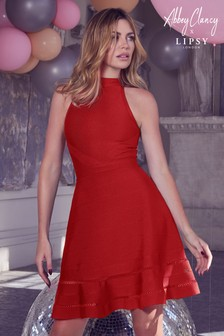 Abbey Clancy x Lipsy Fit And Flare Bandage Dress