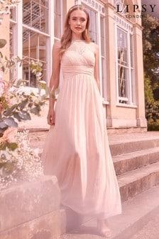 Lipsy Nude Elsa Lace Sleeveless Mesh Maxi Bridesmaid Dress