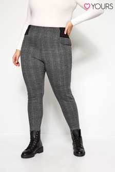 Yours Grey Ponte Roma Check Trousers