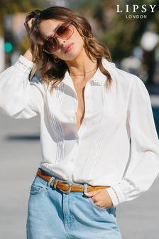 Lipsy Ivory Ruffle Collar Pintuck Shirt