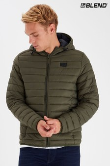 Blend Khaki Funnel Quilted Jacket With Hood
