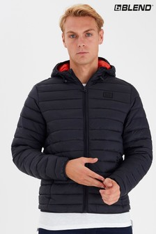 Blend Black Funnel Quilted Jacket With Hood