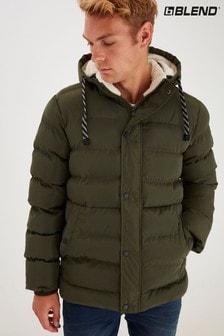 Blend Khaki Borg Lined Padded Jacket With Hood