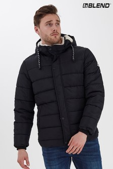 Blend Black Borg Lined Padded Jacket With Hood