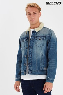 Blend Blue Denim Jacket With Borg Collar And Lining