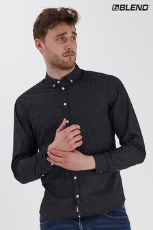 Blend Black Dot Print Slim Fit Shirt