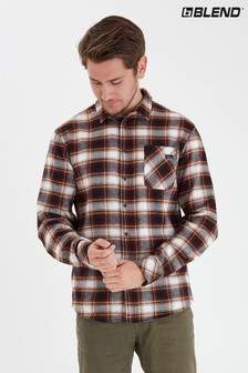 Blend Rust Slim Fit Brushed Checked Shirt