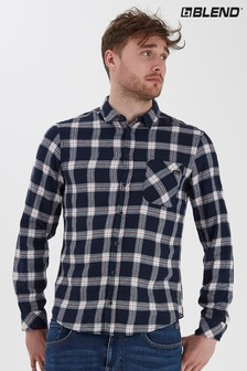 Blend Navy Slim Fit Brushed Checked Shirt