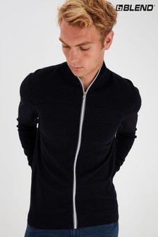 Blend Black Zip Through Knitted Cardigan