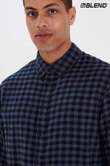 Blend Blue Brushed Slim Fit Checked Flannel Shirt