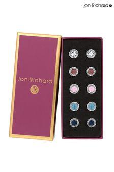 Jon Richard Silver Plated Besel Set Crystal Earrings Pack Of 5- Gift Boxed