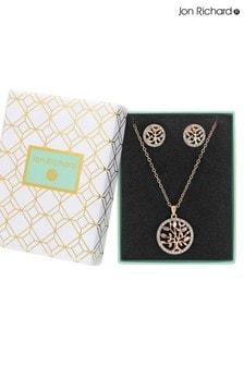 Jon Richard Rose Gold Crystal Tree Of Life Necklace & Earring Set - Gift Boxed