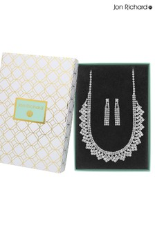 Jon Richard Silver Plated Crystal Statement Diamante Necklace & Earring Set - Gift Boxed