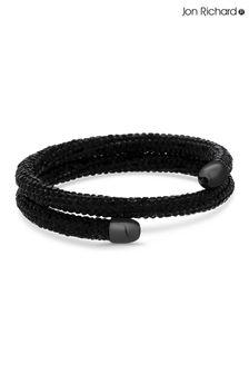 Jon Richard Black Crystal Sparkle Double Wrap Bangle - Gift Boxed