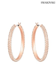Swarovski Rose Gold Stone Hoop Pierced Earrings