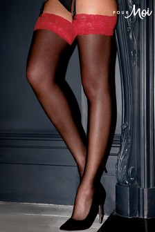 Pour Moi BlackRed Allure Stocking