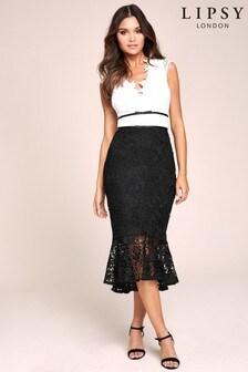 Lipsy Monochrome Lace Midi Bodycon Dress
