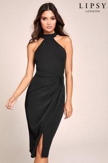 Lipsy Black Haltler Midi Dress