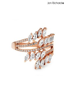 Jon Richard Rose Gold Plated Twisted Navette Cubic Zirconia Ring