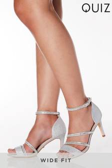 Quiz Wide Fit Shimmer Asymmetric Diamante Strap Mid Heeled Sandal