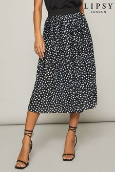 Lipsy Black Abstract Spot Lipsy Pleated Midi Skirt