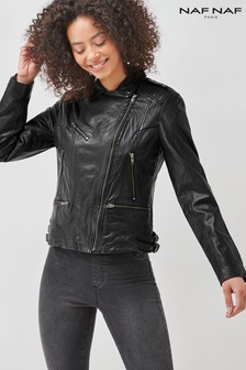 Naf Naf Black Leather Jacket