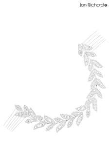 Jon Richard Silver Plated Crystal Eva Leaf Double Comb