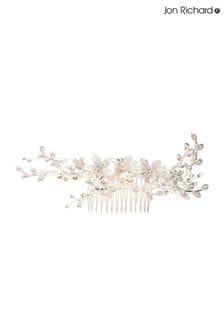 Jon Richard Silver Plated Crystal Madeline Texture Petal Spray Comb