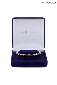 Jon Richard Gold Plated Cubic Zirconia Emerald Green Pear Bracelet - Gift Boxed