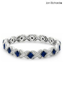 Jon Richard Silver and Blue Crystal Kiss Stretch Bracelet