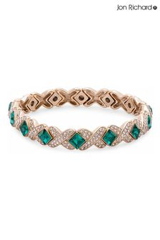Jon Richard Gold and Green Crystal Kiss Stretch Bracelet