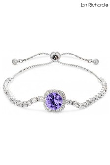 Jon Richard Purple Silver Plated Crystal Amythyst Coloured Square Toggle Bracelet