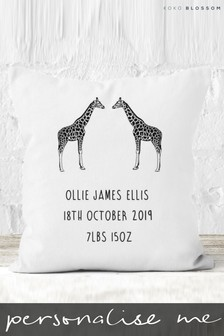 Personalised Giraffes Baby Cushion By Koko Blossom
