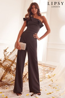 Lipsy Black One Shoulder Ruffle Jumpsuit