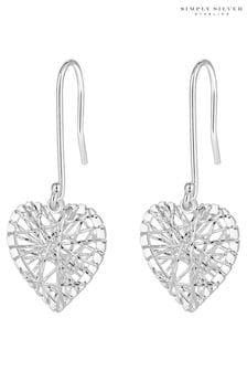 Simply Silver Sterling Silver 925 Diamond Cut Cage Heart Drop Earring