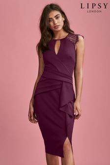 Lipsy Mulberry Eyelash Lace Wrap Frill Dress