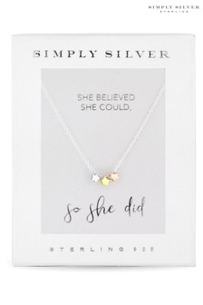 Simply Silver Sterling Silver 925 Tri-Tone Triple Star Necklace - Gift Boxed