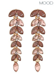 Mood Rose Gold Plated Pink Effect Style Leaf Drop Earring
