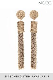 Mood Gold Plated Chain Wrap Drop Tassell Earrings