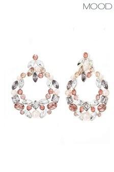 Mood Silver Plated Tonal Pink Encrusted Door Knocker Earrings