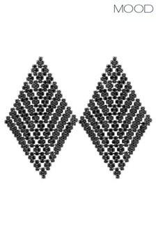 Mood Black Plated Crystal Diamond Shape Chandelier Earrings