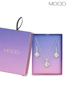 Mood Silver Plated Crystal Cushion Necklace And Earring Set - Gift Boxed