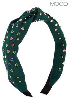 Mood Green Multicolour Stones Knot Headband