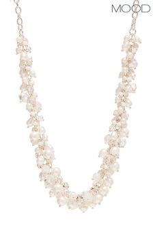 Mood Silver Plated Pearl And Bead Cluster Necklace