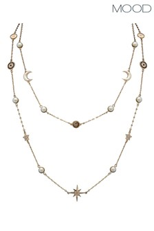 Mood Gold Plated Crystal And Cream Pearl Celestial Necklace